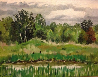 Original oil painting . New Hampshire landscape . Old pond . Oil on canvas board . 8 by 10 inches .