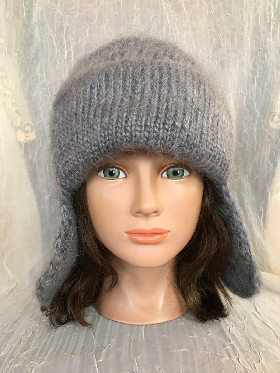 Knitted wool hat Russian hat goat down cashmere grey gray hat  a6cebea1ee12