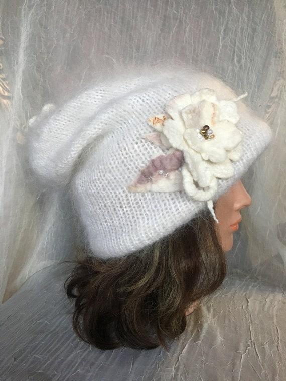 Warm winter hat beanie white cream wool goat down cashmere  99511c97e86a