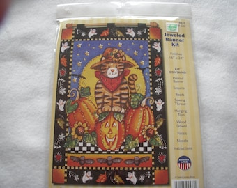 Fall Cat Jeweled Banner Kit