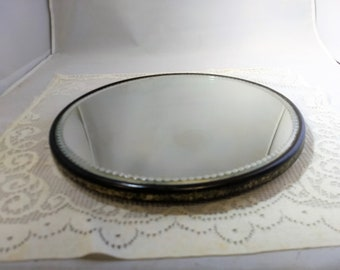 Antique Round Mirrored Dresser Tray, Footed with Beveled Glass Scalloped Design #C309