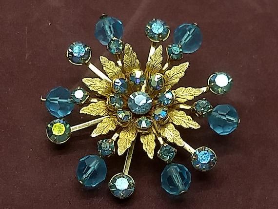Vintage Aquamarine Rhinestone brooch