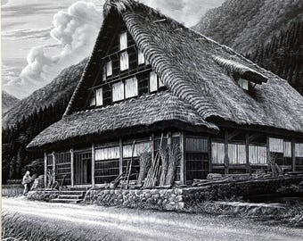 1975 Rare Signed and Numbered Limited Edition Print of a Painting of a House in Shirakawa-gō, Japan – Japanese Culture – Architecture #1