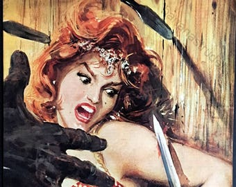 1962 Set of Two Italian Retro Horror Illustrations - Hitchcock The Birds - Woman in Knife Throwing Act - Sixties