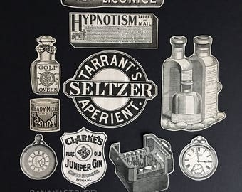 c3ec5bba7b6a4 1860-1900 BANANASTRUDEL INGREDIENTS - 10-pc. Variety Pack. 5 x 7. Watches -  Bottles - Hypnotism. Junk Journal   Art