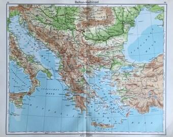 Map balkan peninsula | Etsy