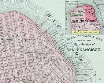Sf Map Etsy - Vintage sf map