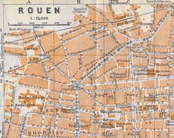 Antique rouen map | Etsy