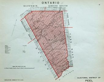 Brampton Canada Map.Brampton Map Etsy