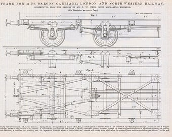 Engineering drawing etsy 1885 antique engineering drawing blueprint of 42 foot saloon carriage victorian technical illustration london north western malvernweather Images
