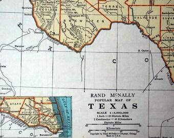 Vintage texas map | Etsy