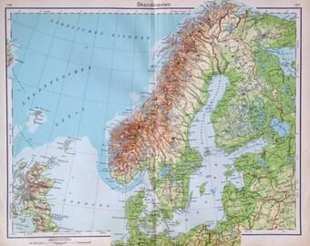 Scandinavia map   Etsy