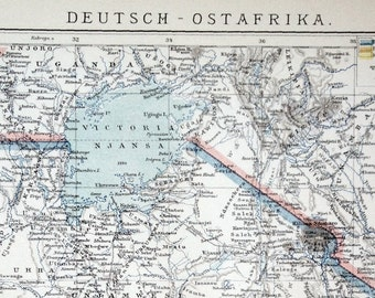 1894 German Antique Map of German East Africa - Antique East Africa Map