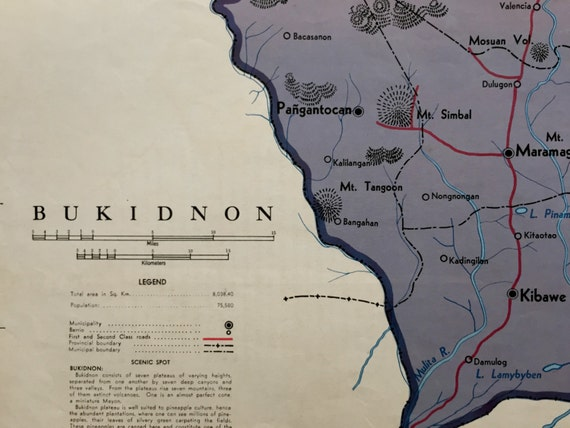 1959 Large Vintage Map Of Bukidnon Province The Philippines Etsy
