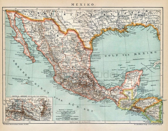 1894 Antique Map Of Mexico Mexico Antique Map Inset Of Etsy