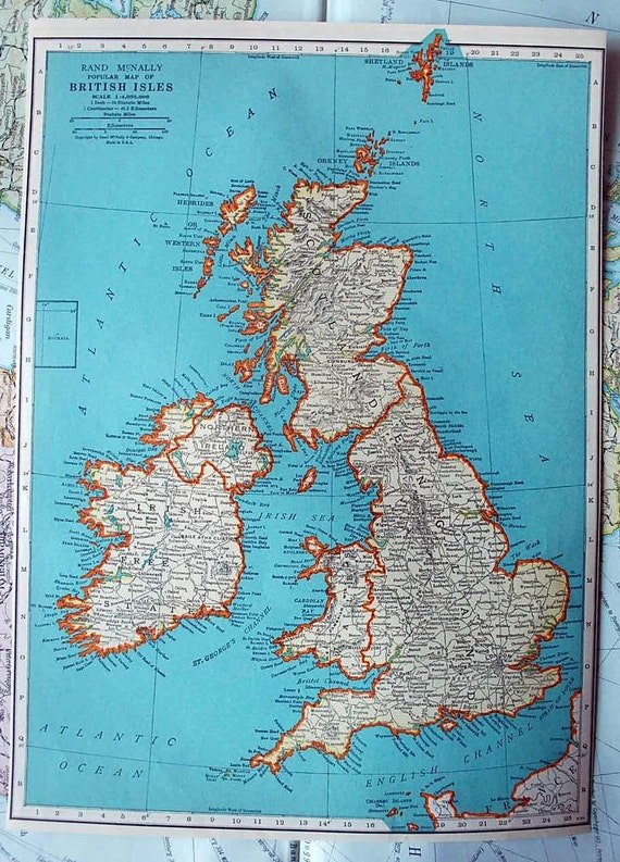1937 Antique Map of the British Isles or Great Britain   Etsy