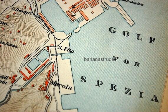 Antique Map Of La Spezia Italy 1895 Vintage City Map Old City Map