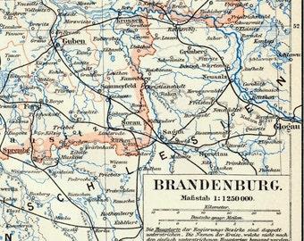 1895 Antique Map of Brandenburg, Germany - Inset of the Environs of Berlin - Brandenburg Antique Map - Germany Antique Map