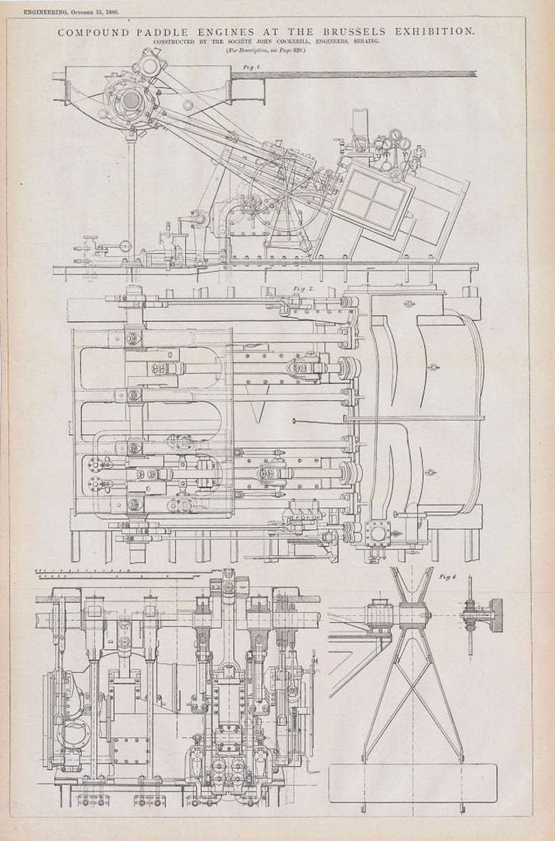 Brussels Exhibition 2-panel Technical Drawing 1879 Large Antique Print of Compound Paddle Engines Blueprint
