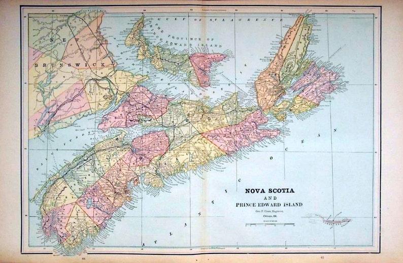 Map Of Canada Nova Scotia.1892 Antique Map Of Nova Scotia And Prince Edward Island Etsy