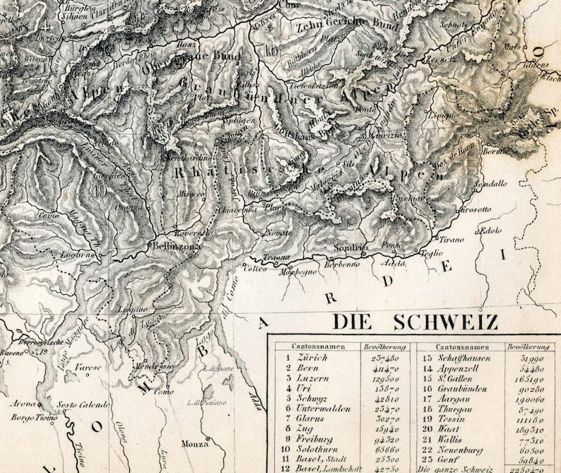 Schweiz Karte Schwarz Weiss.1851 Antike Karte Der Schweiz Schwarz Und Weiss
