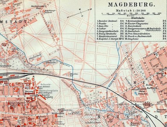 Antique Map Of Magdeburg Germany 1895 Original Vintage City Etsy