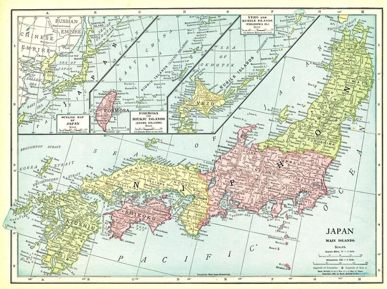 Vintage Map of Japan - Formosa - Kurile Islands - Antique 1913 Map
