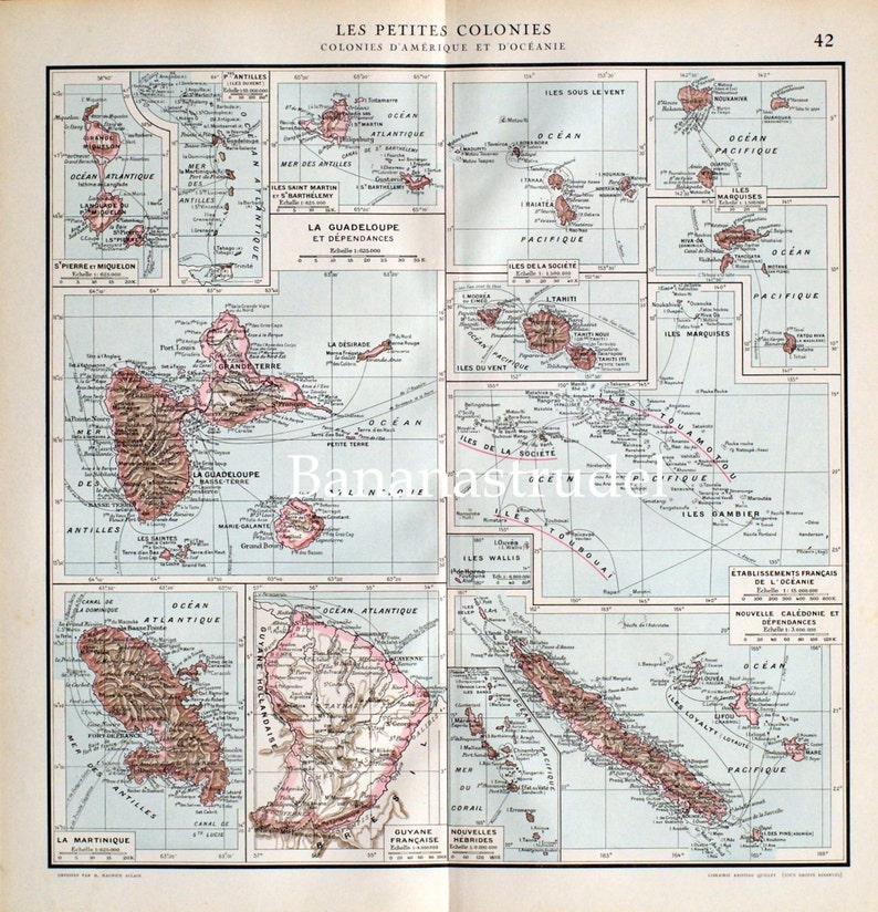 1923 Vintage Map of Antilles - Marquesas - Tahiti - Martinique - Guadalupe on vintage map of southeast asia, vintage map of costa rica, vintage map of caribbean,