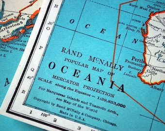 1937 Vintage Map of Oceania, with the Philippines, Australia, Indonesia, Thailand, the Pacific Ocean, New Zealand