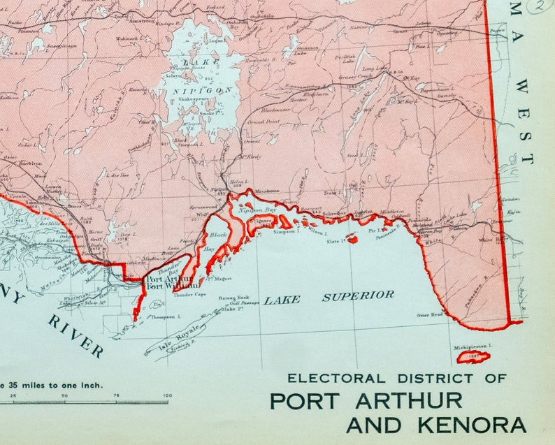 Map Of Kenora Canada.1915 Antique Map Of The Electoral District Of Port Arthur And Kenora Ontario Canada It S Where You Live Series Mp