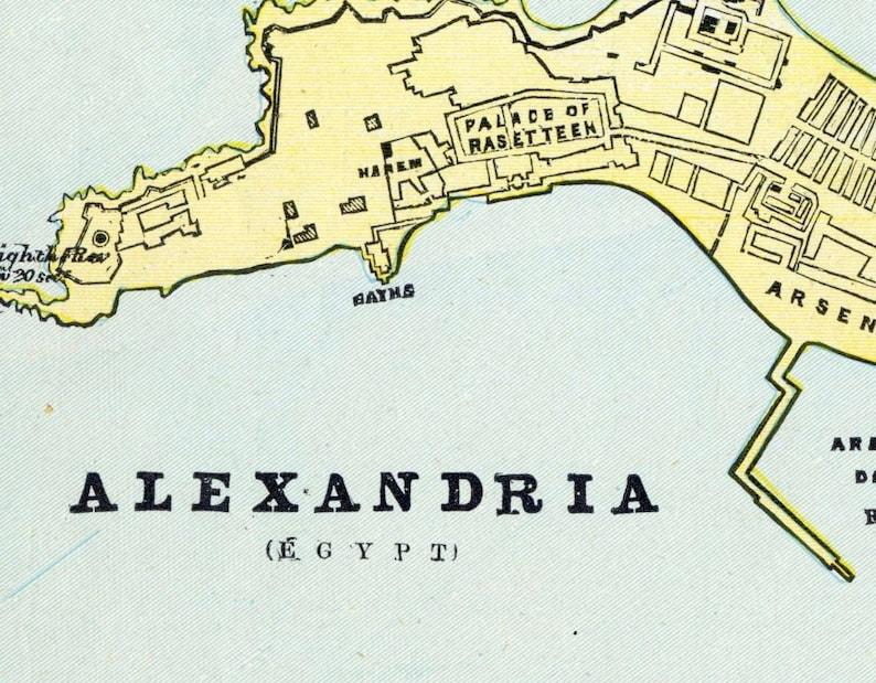1888 Vintage Map of Alexandria, Egypt - Old Street Map of Alexandria -  Vintage City Map - Old City Map