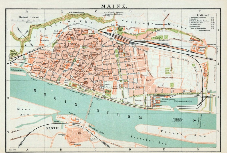 1894 Vintage Map Of Mainz Germany Vintage City Map Old Etsy