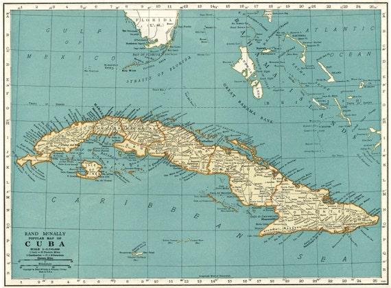 Vintage Map Of Cuba Cuba Vintage Map Vintage Cuba Map Etsy - Vintage map of cuba