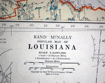 1937 Vintage Map of Louisiana - Louisiana Vintage Map - Vintage Louisiana Map