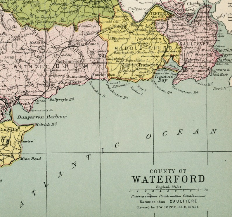 1905 Antique Map Of County Waterford Ireland Ireland Etsy
