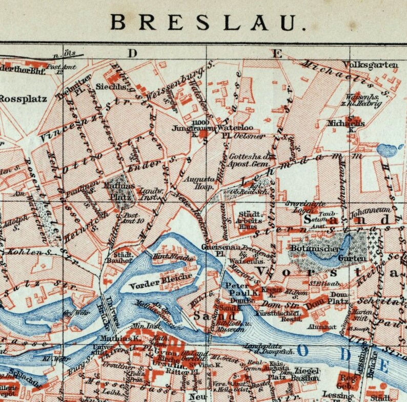 Antique Map Of Breslau Wroclaw Poland 1894 Vintage Map Etsy
