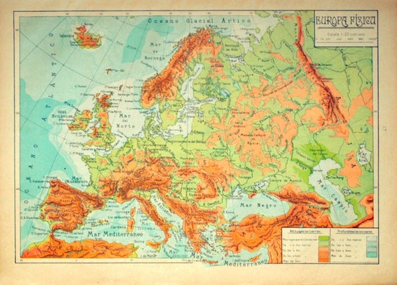 Vintage Physical Map of Europe. Spanish Map published in 1940