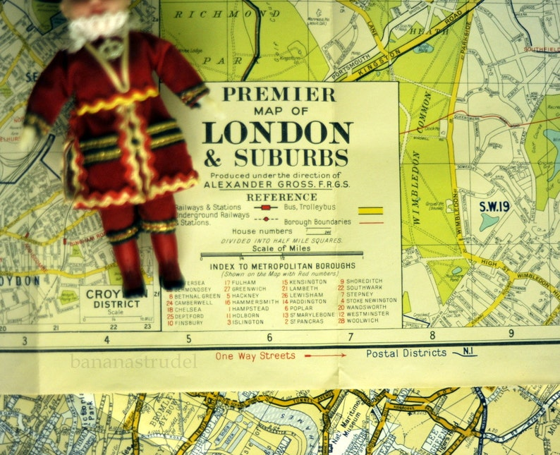 Map Of London And Surrounding Suburbs.1950s Vintage Map Of London And Suburbs Vintage Street Map London Vintage Map Wall Size Map