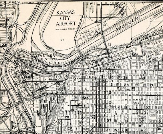 1937 Vintage Map of Kansas City Missouri