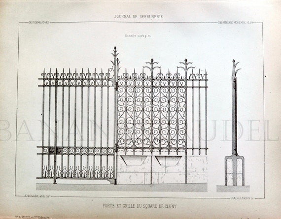 1880 French Antique Engraving / Vintage Print of Decorative and Architectural Metalwork. Gate and Grill of Cluny Square. Plate 39