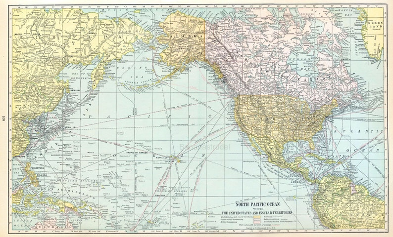 1919 Large Vintage Map Of The North Pacific Ocean United Etsy - Pacific-ocean-us-map
