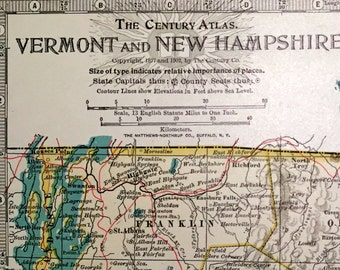 1902 Century Atlas Antique Map of Vermont and New Hampshire - Antique Vermont Map - Antique New Hampshire Map