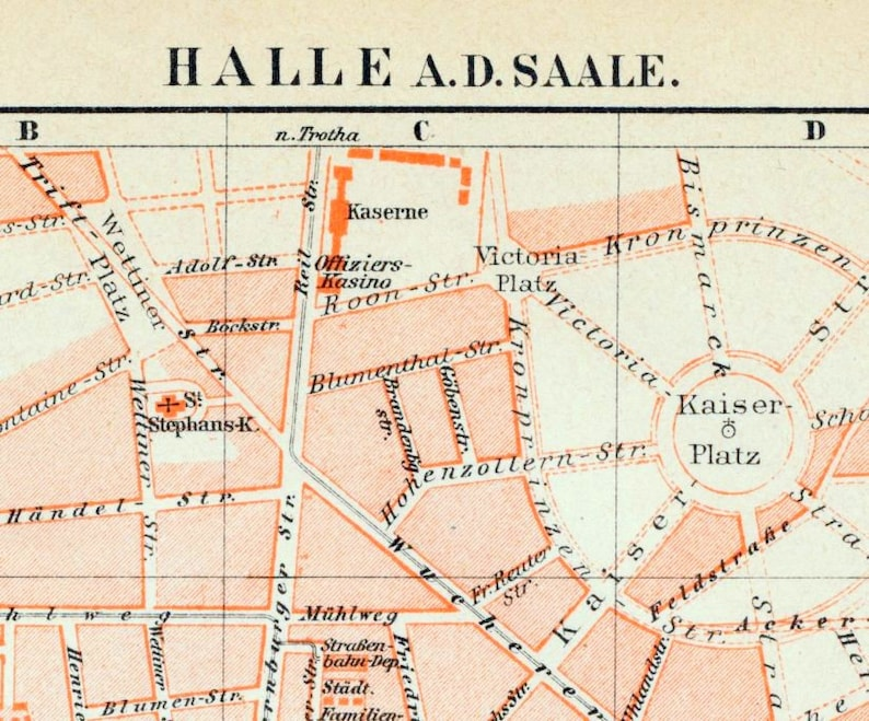 Show Map Of Germany.1895 Vintage Map Of Halle An Der Saale Germany Vintage City Map Old City Map