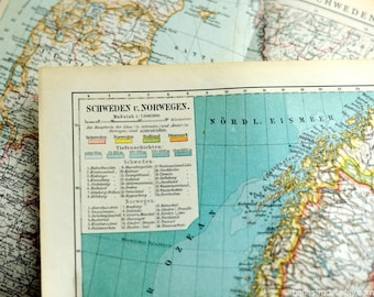 1895 Antique Map of Sweden and Norway - Antique Sweden Map - Antique Norway Map - N104 - German map