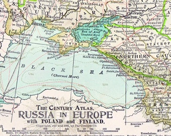 1902 Antique Map of Russia - Russia Antique Map - Century Atlas - With Poland and Finland