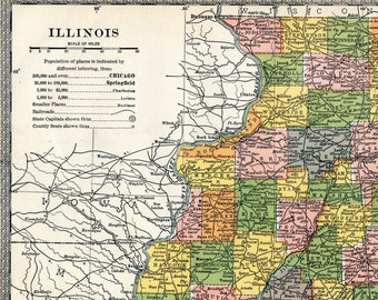 1904 Antique Map of Illinois - Inset of Chicago Area - Antique Illinois Map - Colourful map