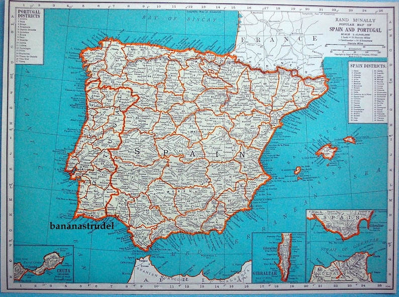 Map Of Portugal Spain.1937 Vintage Map Of Spain And Portugal Spain Portugal Etsy