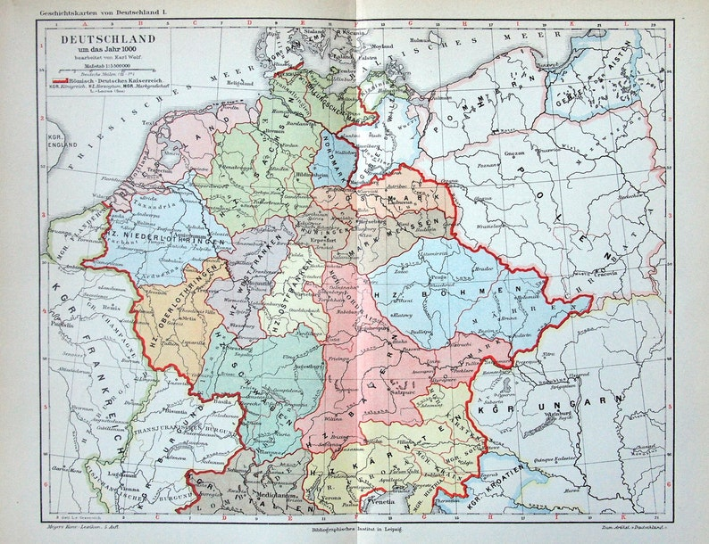 Antique Map Of Germany In The Year 1000 1895 Historical Map Etsy