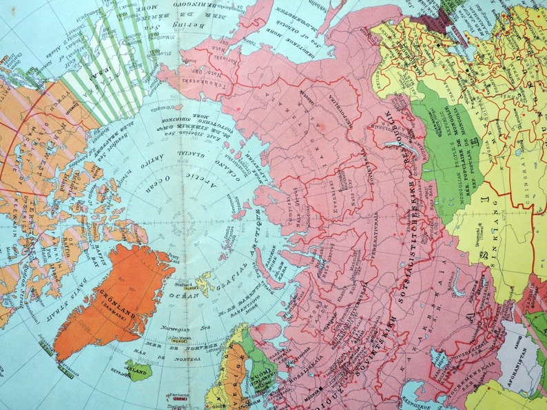 Political World Map 1950.1950 Large Vintage Political Map Of The Northern Hemisphere Etsy
