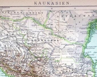 1894 Antique Map of the Caucasus Region (Caucasia) - German map